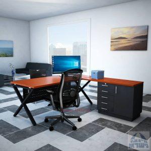 שולחן מזכירה יוקרתי דגם Extra – MD5 רגל שחורה - מיסתור מתכת