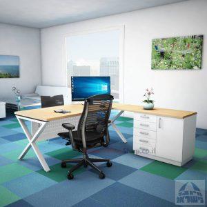 שולחן מזכירה יוקרתי Extra – MD5 רגל לבנה - מיסתור מתכת