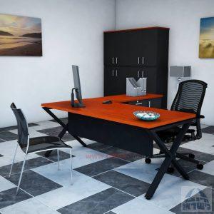 שולחן מזכירה יוקרתי דגם Extra – MD5 רגל שחורה - מיסתור עץ