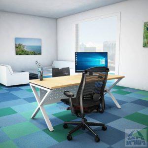 שולחן כתיבה מעוצב דגםEXTRAרגל לבנה כולל מיסתור מתכת