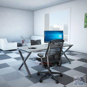 שולחן כתיבה מעוצב דגם EXTRA רגל כסופה ללא מיסתור