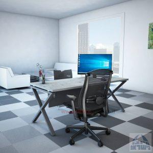 שולחן כתיבה מעוצב דגם EXTRA רגל כסופה + מיסתור עץ