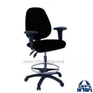 כסא שרטט מרופד TOPAZ-בסיס שחור חישוק ניקל +ידיות מתכווננות