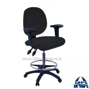 כסא שרטט מרופד דגם MORAN-בסיס שחור חישוק ניקל+ידיות מתכווננות