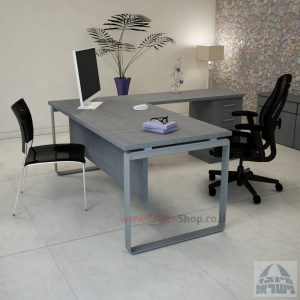 שולחן מזכירה פינתי דגם Niro – M4 רגל כסופהכולל מיסתור עץ