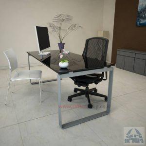 שולחן עבודה Niro Glass רגל כסופה זכוכית שחורה