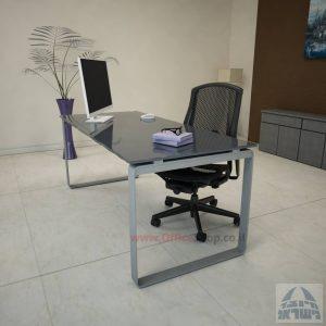 שולחן עבודה Niro Glass רגל כסופה זכוכית אפורה