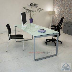 שולחן עבודה Niro Glass רגל כסופה זכוכית לבנה