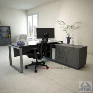 שולחן מנהלים פינתי Niro Glass רגל כסופה + זכוכית אפורה