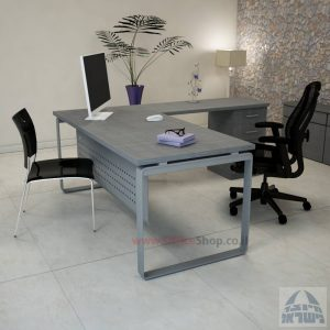 שולחן מזכירה פינתי דגם Niro – M4 רגל כסופהכולל מיסתור מתכת