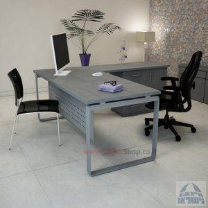 שולחן מזכירה יוקרתי דגם Niro – MD4 רגל כסופה כולל מיסתור מתכת