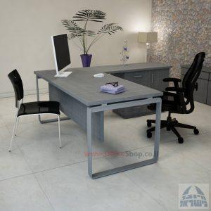 שולחן מזכירה יוקרתי דגם Niro – MD4 רגל כסופה כולל מיסתור עץ