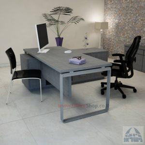 שולחן מנהלים פינתי דגם Niro רגל כסופה כולל מיסתור עץ