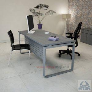שולחן כתיבה יוקרתי דגם Niro רגל כסופה כולל מיסתור מתכת