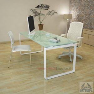 שולחן עבודה Niro Glass רגל לבנה זכוכית לבנה