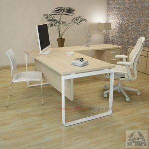 שולחן מזכירה פינתי דגם Niro – M4 רגל לבנהכולל מיסתור עץ