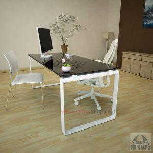 שולחן עבודה Niro Glass רגל לבנה זכוכית שחורה