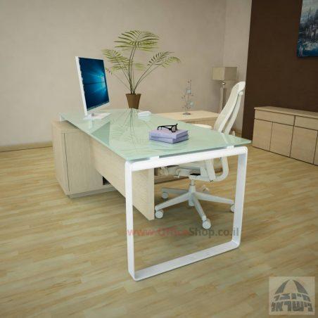 שולחן מנהלים פינתי Niro Glass רגל לבנה + זכוכית שחורה