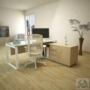 שולחן מנהלים פינתי Niro Glass רגל לבנה + זכוכית לבנה