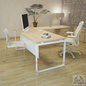 שולחן מזכירה פינתי דגם Niro – M4 רגל לבנהכולל מיסתור מתכת