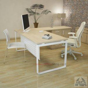 שולחן מזכירה יוקרתי דגם Niro – MD4 רגל לבנה כולל מיסתור מתכת