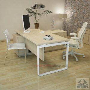 שולחן מנהלים פינתי דגם Niro כולל מיסתור עץ