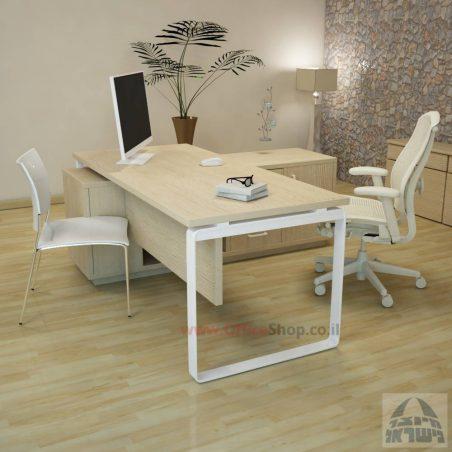 שולחן מנהלים פינתי דגם Niro רגל לבנה כולל מיסתור עץ