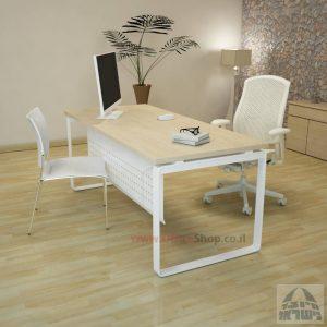 שולחן כתיבה יוקרתי דגם Niro רגל לבנה כולל מיסתור מתכת