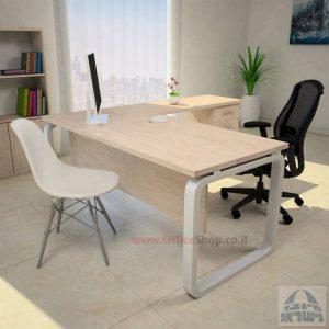שולחן מזכירה יפינתי דגם Ola – M5 רגל כסופה כולל מיסתור עץ