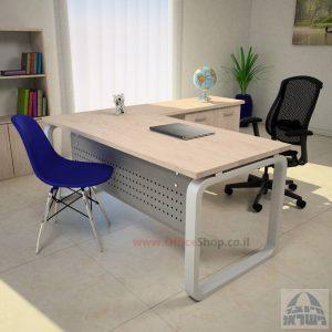שולחן מזכירה פינתי דגם Ola – MD5 רגל כסופה ומיסתור מתכת