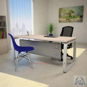 שולחן כתיבה יוקרתי דגם Ola עם רגל כסופה ומיסתור מתכת