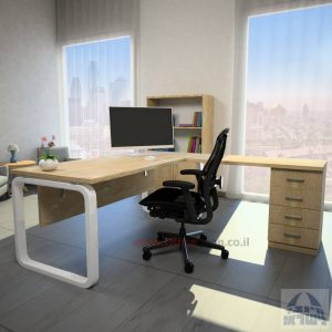 שולחן מזכירה פינתי דגם Ola – M5 רגל לבנה כולל מיסתור עץ