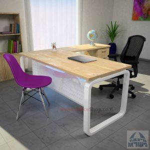 שולחן מזכירה פינתי דגם Ola – M5 רגל לבנה כולל מיסתור מתכת