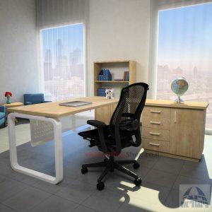 שולחן מזכירה פינתי דגם Ola – MD5 רגל לבנה ומיסתור מתכת