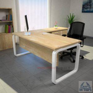 שולחן מזכירה פינתי דגם Ola – MD5 רגל לבנה ומיסתור עץ