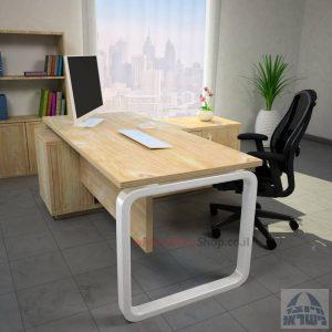 שולחן מנהלים פינתי דגם Ola רגל לבנה