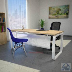 שולחן כתיבה יוקרתי דגם Ola עם רגל לבנה ומיסתור מתכת