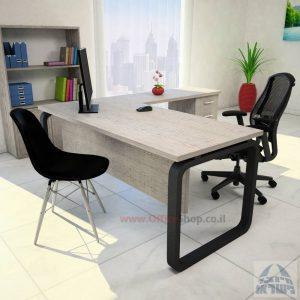 שולחן מזכירה פינתי דגם Ola – M5 רגל שחורה כולל מיסתור עץ