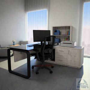 שולחן מנהלים פינתי דגם Ola Glass רגל שחורה כולל זכוכית שחורה