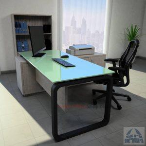 שולחן מנהלים פינתי דגם Ola Glass רגל שחורה כולל זכוכית לבנה
