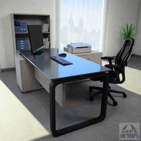 שולחן מנהלים פינתי דגם Ola Glass רגל לבנה כולל זכוכית אפורה
