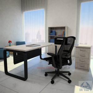 שולחן מזכירה פינתי דגם Ola – M5 רגל שחורה כולל מיסתור מתכת
