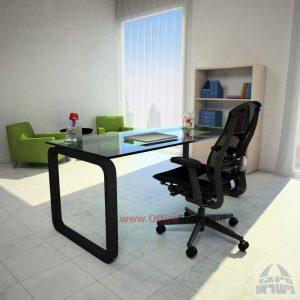 שולחן כתיבה Ola Glassזכוכית שקופה מחוסמת – רגל שחורה