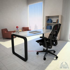 שולחן כתיבה Ola Glassזכוכית אקסטרה קליר צרובה – רגל שחורה