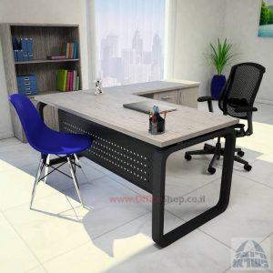 שולחן מזכירה פינתי דגם Ola – MD5 רגל שחורה ומיסתור מתכת