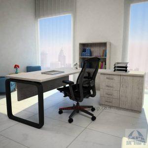 שולחן מזכירה פינתי דגם Ola – MD5 רגל שחורה ומיסתור עץ