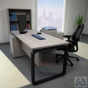 שולחן מנהלים פינתי דגם Ola רגל שחורה