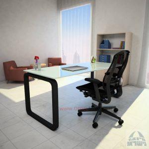 שולחן כתיבה Ola Glassזכוכית לבנה מחוסמת – רגל שחורה