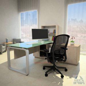 שולחן מנהלים פינתי דגם Ola Glass רגל כסופה כולל זכוכית לבנה
