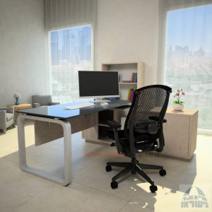 שולחן מנהלים פינתי דגם Ola Glass רגל כסופה כולל זכוכית אפורה